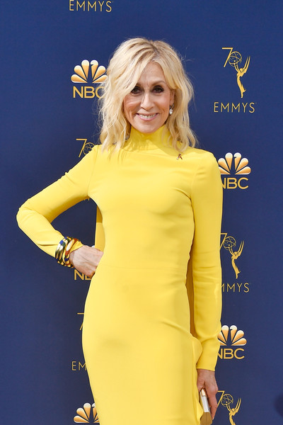 70th Emmy Awards - Arrivals [hair,yellow,clothing,dress,hairstyle,electric blue,blond,cocktail dress,long hair,carpet,arrivals,judith light,emmy awards,microsoft theater,los angeles,california]