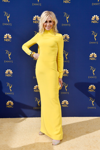 70th Emmy Awards - Arrivals [yellow,flooring,shoulder,fashion model,joint,dress,carpet,red carpet,electric blue,gown,judith light,emmy awards,flooring,shoulder,fashion model,carpet,theater,microsoft theater,california,microsoft,judith light,70th primetime emmy awards,microsoft theater,69th primetime emmy awards,68th primetime emmy awards,celebrity,primetime emmy award,red carpet,emmy award]
