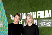 """Mia Wasikowska, Kiruna Stamell and Mirrah Foulkes attend the """"Judy & Punch"""" Premiere during the 63rd BFI London Film Festival at the Embankment Gardens Cinema on October 12, 2019 in London, England."""