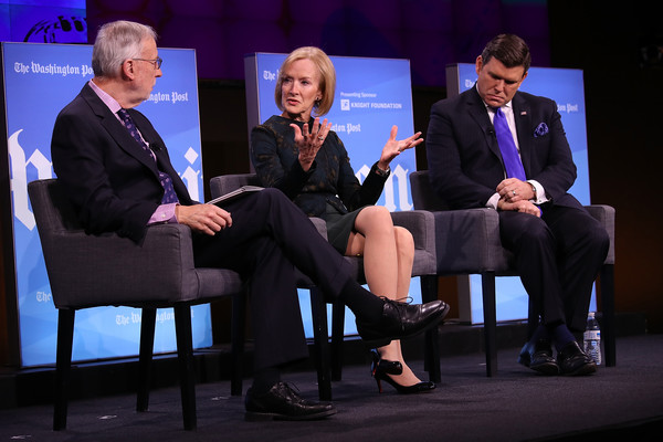 Washington Post Holds Forum On Fake News And The Media [washington post holds forum on fake news,event,conversation,convention,interaction,performance,academic conference,employment,speech,white-collar worker,media,judy woodruff,dan balz,bret baier,c,anchor,washington post,the media,l,discussion]