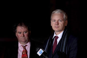 Mark Stephens (L), the lawyer representing WikiLeaks founder Julian Assange, and Julian Assange hiimself speak to the press before leaving Belmarsh Magistrates Court on February 8, 2011 in London, England. Mr Assange is continuing his challenge to a proposed extradition from the UK to Sweden on grounds of alleged sexual assault against two women.