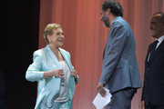 Luca Guadagnino greets Julie Andrews before she is awarded the Golden Lion for Lifetime Achievement during the 76th Venice Film Festival at Sala Grande on September 02, 2019 in Venice, Italy.