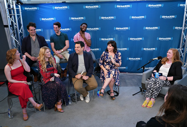 SiriusXM On Broadway Presents 'Curtain Call With FROZEN The Broadway Musical' Featuring Conversations With The Show's Stars And Tony-Nominated Songwriting Team [event,fashion,design,crowd,team,stage equipment,performance,tourism,fashion design,l-r,back row,front row,part,presents,curtain call,siriusxm on broadway presents curtain call with frozen the broadway musical,featuring conversations with the shows stars and tony,songwriting team,siriusxm]