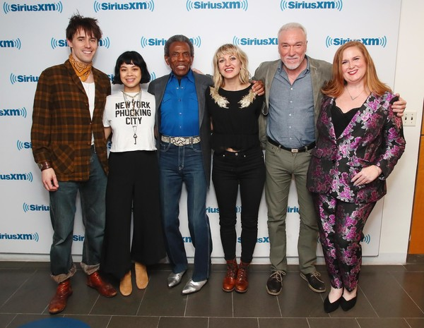 SiriusXM's 'On Broadway Curtain Call With The Cast Of Hadestown' [on broadway curtain call with the cast of hadestown,event,youth,footwear,performance,team,tourism,julie james,anais mitchell,andre de shields,patrick page,reeve carney,eva noblezada,l-r,new york city,siriusxm]