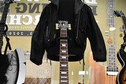 A Robert Plant of Led Zepplin and Tony Iommi of Black Sabbath signed guitar on display at Julien's Auctions Hosts MusiCares Charity Relief Press Preview at Julien's Auctions on September 01, 2020 in Beverly Hills, California.