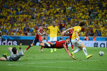 Julio Cesar David Luiz Brazil v Colombia: Quarter Final - 2014 FIFA World Cup Brazil