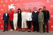 Official Competition jury members Christoph Waltz, Taika Waititi, Naomi Watts, Malgorzata Szumowska, Trine Dyrholm, Nicole Garcia, president of the jury Guillermo Del Toro, jury members Sylvia Chang and Paolo Genovese attend the Jury photocall during the 75th Venice Film Festival at Sala Casino on August 29, 2018 in Venice, Italy.