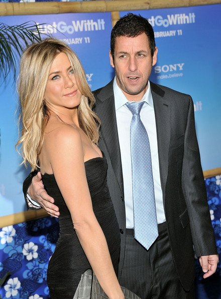 "Jennifer Aniston and Adam Sandler attend the premiere of ""Just Go With It"" at the Ziegfeld Theatre on February 8, 2011 in New York City."