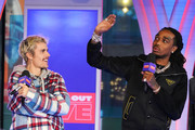 "Justin Bieber and Quavo appear onstage at MTV's ""Fresh Out Live"" on February 07, 2020 in New York City."