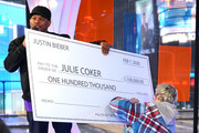 """Justin Bieber surprises superfan with $100K donation during MTV's """"Fresh Out Live"""" on February 07, 2020 in New York City."""