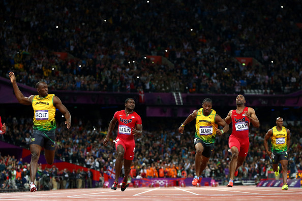 ... Gatlin of the United States, Asafa Powell of Jamaica and Tyson Gay of ...