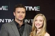 "Actor Justin Timberlake and actress Amanda Seyfried attend ""In Time"" photocall at Villamagna Hotel on November 3, 2011 in Madrid, Spain."