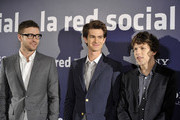 """(L to R) Actors Justin Timberlake, Andrew Garfield and Jesse Eisenberg attend """"The Social Network"""" photocall at the Villamagna Hotel on October 6, 2010 in Madrid, Spain."""