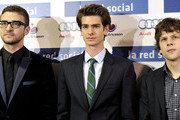 """(L-R) Actors Justin Timberlake, Andrew Garfield and Jesse Eisenberg attend """"The Social Network"""" photocall at the Priyecciones cinema on October 6, 2010 in Madrid, Spain."""