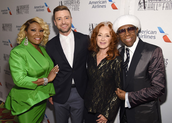 Songwriters Hall Of Fame 50th Annual Induction And Awards Dinner - Backstage [event,premiere,suit,award,white-collar worker,patti labelle,nile rodgers,bonnie raitt,justin timberlake,songwriters hall of fame 50th annual induction and awards dinner,new york city,the new york marriott marquis]
