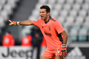 Gianluigi Buffon of Juventus F.C. gestures during the Serie A match between Juventus and Cagliari Calcio at Allianz Stadium on November 21, 2020 in Turin, Italy. Football Stadiums around Europe remain empty due to the Coronavirus Pandemic as Government social distancing laws prohibit fans inside venues resulting in fixtures being played behind closed doors.