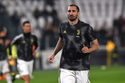 Giorgio Chiellini of Juventus warms up before the Serie A match between Juventus and Frosinone Calcio on February 15, 2019 in Turin, Italy.