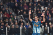 Diego Godin of Atletico Madrid gestures during the UEFA Champions League Round of 16 Second Leg match between Juventus and Club de Atletico Madrid at Allianz Stadium on March 12, 2019 in Turin, .