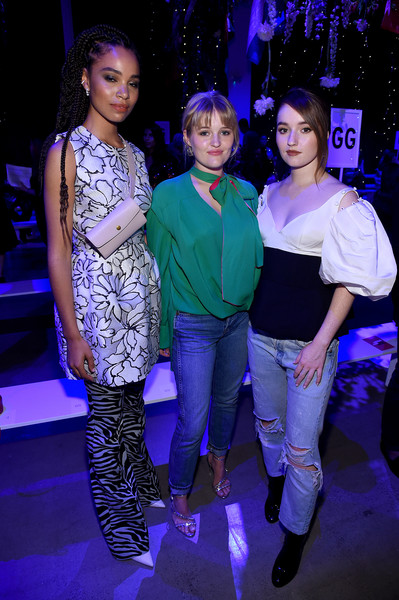 Prabal Gurung - Front Row - September 2019 - New York Fashion Week: The Shows [shows,performance,fashion,event,fashion design,electric blue,leisure,performing arts,prabal gurung,maddie dever,kaitlyn dever,nesta cooper,front row,front row,l-r,spring studios,new york fashion week]