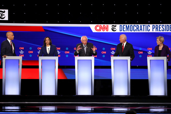Democratic Presidential Candidates Participate In Fourth Debate In Ohio [event,news,news conference,stage equipment,speech,debate,cory booker,candidates,kamala harris,joe biden,bernie sanders,elizabeth warren,debate,ohio,nj,democratic]