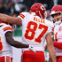 De'Anthony Thomas Photos - Travis Kelce #87 of the Kansas City Chiefs celebrates with  De'Anthony Thomas #13 of the Kansas City Chiefs and Alex Smith #11 of the Kansas City Chiefs after scoring a touchdown during their game at MetLife Stadium on December 3, 2017 in East Rutherford, New Jersey. - Kansas City Chiefs vNew York Jets