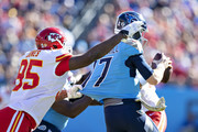 Chris Jones #95 of the Kansas City Chiefs first through the blocking to sack Ryan Tannehill #17 of the Tennessee Titans at Nissan Stadium on November 10, 2019 in Nashville, Tennessee.