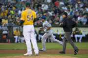 Raul Ibanez #18 of the Kansas City Royals rounds the bases after hitting a home run off of Sonny Gray #54 of the Oakland Athletics during the fifth inning at O.co Coliseum on August 1, 2014 in Oakland, California.