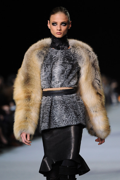 Abbey Lee Kershaw walks the runway during the Kanye West Ready-To-Wear Fall/Winter 2012 show as part of Paris Fashion Week at Halle Freyssinet on March 6, 2012 in Paris, France.
