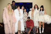 (L-R) Khloe Kardashian, Lamar Odom, Kris Jenner, Kendall Jenner, Kourtney Kardashian, Kanye West, Kim Kardashian, Caitlin Jenner and Kylie Jenner attend Kanye West Yeezy Season 3 on February 11, 2016 in New York City.
