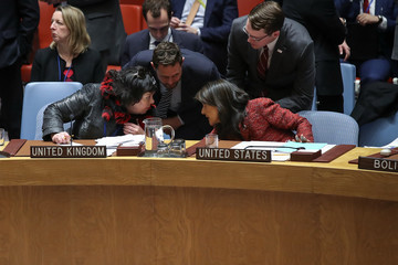 Karen Pierce UN Security Council Votes On US And Russian Resolutions After Syria Gas Attack