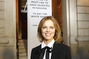 """Eva Herzigova attends the """"Tribute to the Karl Lagerfeld: The White Shirt Project"""" exhibition as part of Paris Fashion Week in Paris on September 25, 2019."""
