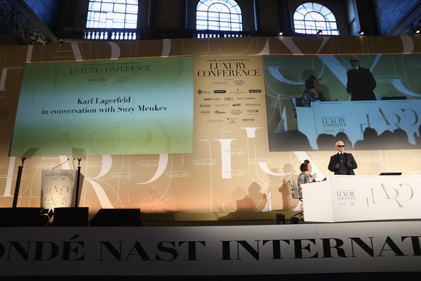 Conde' Nast International Luxury Conference - Day 1 [conde,karl lagerfeld,suzy menkes,text,design,projection screen,font,architecture,projector accessory,nast international luxury conference,conde nast international luxury conference,italy,florence,palazzo vecchio]