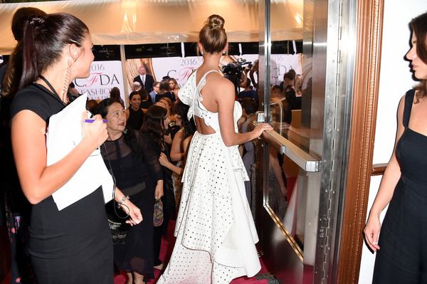 2016 CFDA Fashion Awards - Inside [dress,red carpet,event,gown,fashion,carpet,hairstyle,flooring,premiere,haute couture,hammerstein ballroom,new york city,cfda fashion awards,karlie kloss]