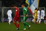 Thomas Mueller and goalkeeper Manuel Neuer of Muenchen react after during a friendly match between Karlsruher SC and FC Bayern Muenchen at Wildpark Stadium on January 16, 2016 in Karlsruhe, Germany.