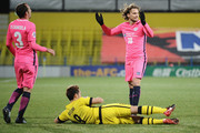 Diego Forlan #18 of Kitchee SC reacts during the AFC Champions League Group E match between Kashiwa Reysol and Kitchee at Sankyo Frontier Kashiwa Stadium on March 6, 2018 in Kashiwa, Chiba, Japan.