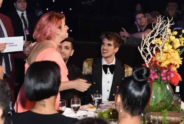 The 9th Annual Streamy Awards - Inside [event,fashion,lady,hairstyle,party,meal,drink,formal wear,ceremony,dinner,joey graceffa,kate albrecht,streamy awards,l-r,los angeles,california,the 9th annual streamy awards]
