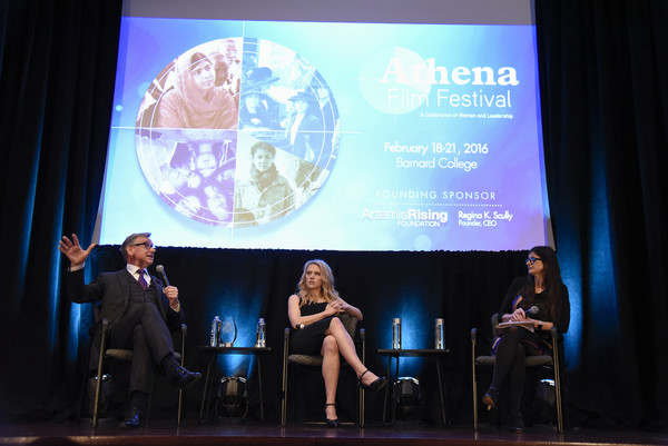2016 Athena Film Festival Day Two [stage,event,performance,projection screen,display device,design,technology,convention,adaptation,media,athena film festival day two,belinda luscombe,kate mckinnon,paul feig,l-r,new york city,diana center,athena film festival]