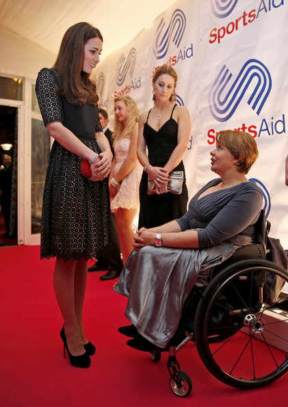 Kate Middleton Catherine, Duchess of Cambridge, (L), patron of SportsAid charity, meets Tanni Grey-Thompson, a Welsh former wheelchair racer and current trustee of the charity, as she attends the SportsBall, the charity's annual gala dinner at Victoria Embankment Gardens on November 28, 2013  in London, England.