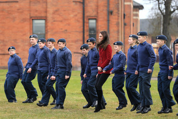 Kate Middleton The Duchess Of Cambridge Visits The RAF Air Cadets At RAF Wittering