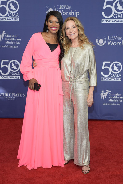 50th Annual GMA Dove Awards - Arrivals [red carpet,carpet,clothing,flooring,premiere,dress,fashion,gown,event,shoulder,arrivals,kathie lee gifford,nicole c. mulllen,gma dove awards,nashville,tennessee]