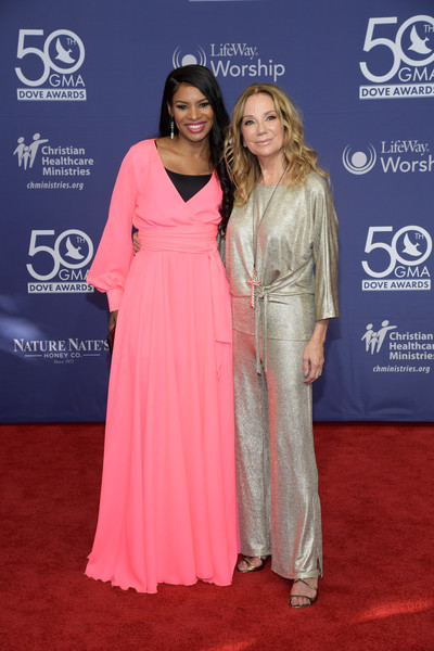 50th Annual GMA Dove Awards - Arrivals [red carpet,carpet,clothing,premiere,dress,flooring,fashion,gown,event,shoulder,arrivals,kathie lee gifford,nicole c. mulllen,gma dove awards,nashville,tennessee]