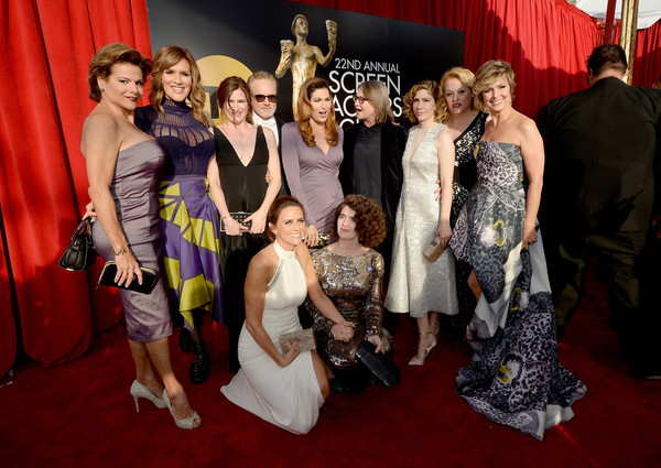 22nd Annual Screen Actors Guild Awards - Red Carpet [red carpet,red carpet,event,carpet,social group,red,fashion,dress,flooring,premiere,ceremony,cast,transparent,screen actors guild awards,california,los angeles,the shrine auditorium]