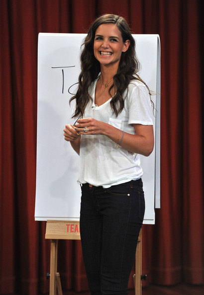 "Katie Holmes visits ""Late Night With Jimmy Fallon"" at Rockefeller Center on August 9, 2011 in New York City."