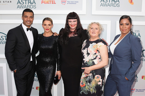 Arrivals at the ASTRA Awards [tv show,event,premiere,fashion,carpet,award,fashion design,arrivals,cast,danielle cormack,katrina milosevic,robbie magasiva,shareena clanton,l-r,wentworth,astra awards]