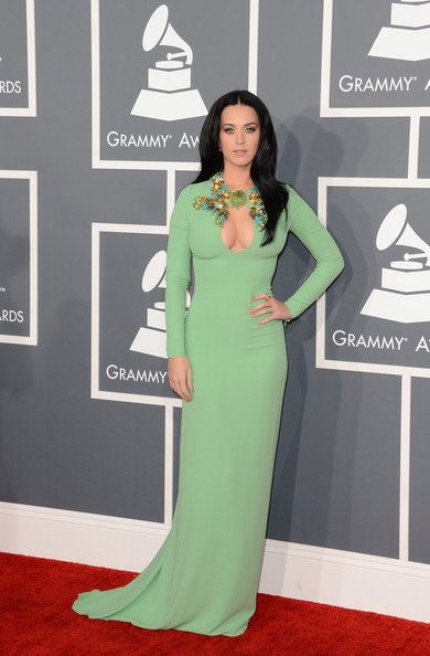 The 55th Annual GRAMMY Awards - Arrivals [red carpet,carpet,green,clothing,dress,flooring,fashion,gown,premiere,fashion model,arrivals,katy perry,staples center,los angeles,california,55th annual grammy awards]
