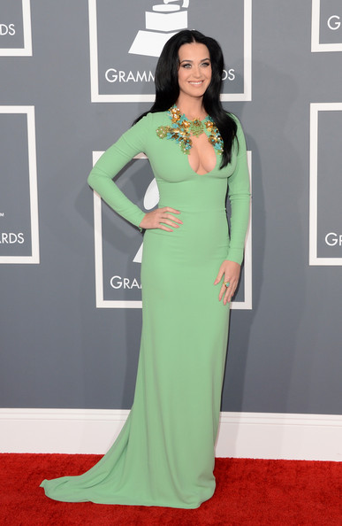 The 55th Annual GRAMMY Awards - Arrivals [flooring,carpet,gown,shoulder,dress,fashion model,red carpet,fashion,formal wear,joint,arrivals,katy perry,staples center,los angeles,california,55th annual grammy awards]