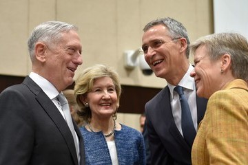 Kay Bailey Hutchison NATO Defence Council Meeting at the NATO Headquarters in Brussels