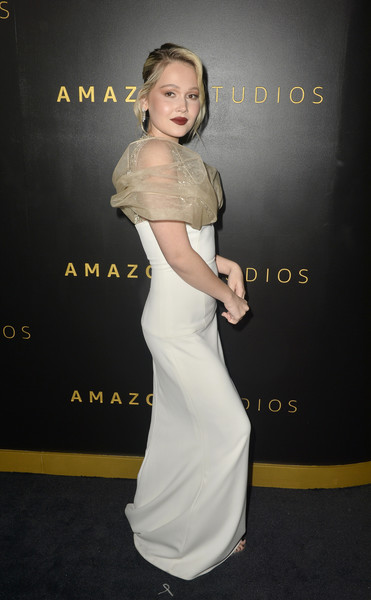 Amazon Studios Golden Globes After Party - Arrivals [shoulder,clothing,dress,hairstyle,carpet,joint,gown,premiere,fashion,flooring,kelli berglund,beverly hills,california,the beverly hilton hotel,amazon studios golden globes,party,arrivals,kelli berglund,golden globe awards,beverly hills,photograph,party 01,amazon studios,actor,party,image,dancer]