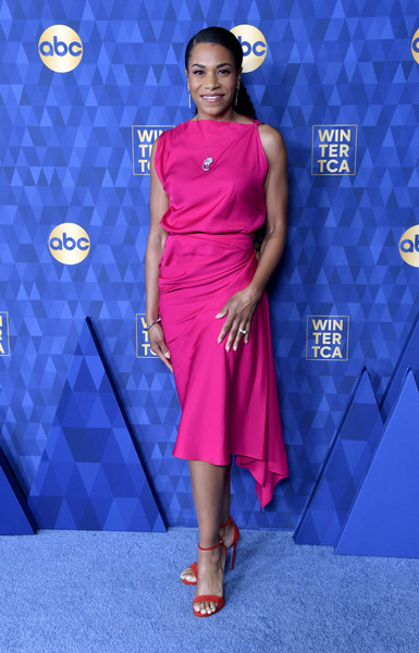 ABC Television's Winter Press Tour 2020 - Arrivals [winter press tour 2020 - arrivals,clothing,dress,electric blue,fashion model,cobalt blue,carpet,red carpet,fashion,cocktail dress,flooring,kelly mccreary,pasadena,california,the langham huntington,abc television,winter press tour 2020,kelly mccreary,harvey girls forever,american broadcasting company,actor,television,image,celebrity]