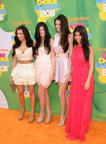 Kendall Jenner (L-R) TV personalities Kim Kardashian, Kendall Jenner, Kylie Jenner, and Kourtney Kardashian arrive at Nickelodeon's 24th Annual Kids' Choice Awards at Galen Center on April 2, 2011 in Los Angeles, California.